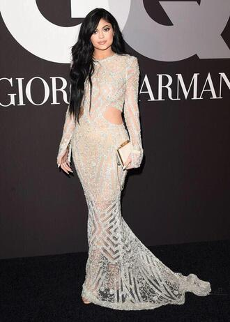 dress kylie jenner dress kylie jenner giorgio armani ivory dress hair extensions wavy hair embroidered embellished dress long sleeve dress prom wedding backless prom dress wedding dress backless dress sequin dress open back nude
