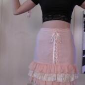 skirt,cute,lace,grunge,vintage,pink,ruffle,lace up,kawaii,kawaii grunge,fairy kei