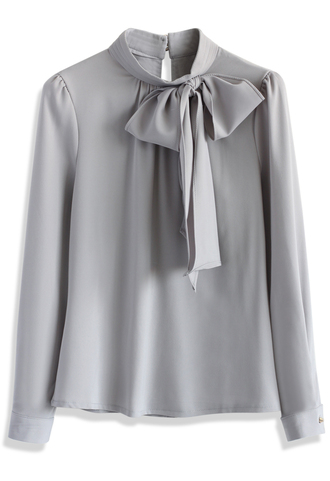 top kiss me bow top in grey chicwish grey top bow top