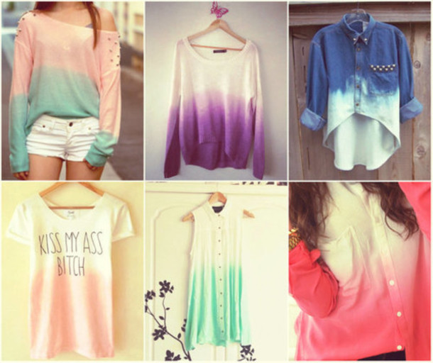 blouse paste shirt ombre quote on it cute two colour