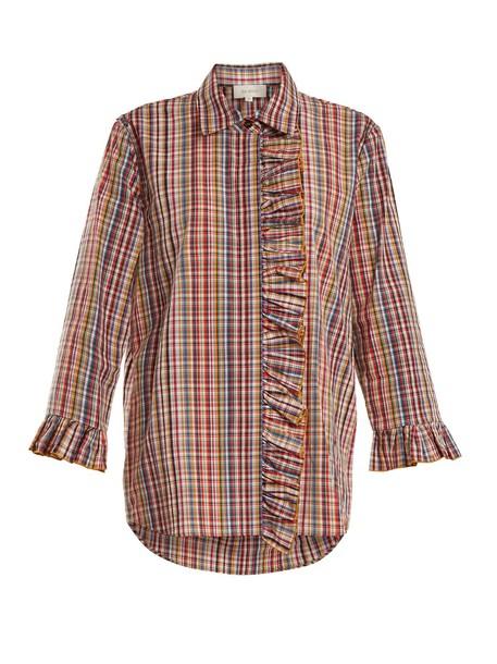 shirt ruffle cotton top