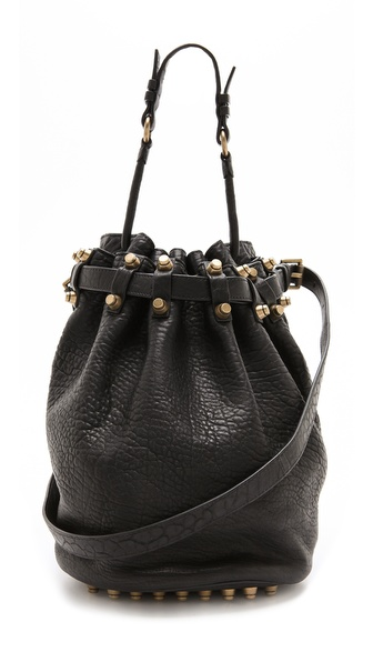 Alexander Wang Diego Bucket Bag with Antiqued Gold Hardware | SHOPBOP