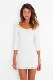dress,white dress,white,bodycon,bodycon dress,gold,rush,cut out bodycon dress,cut-out
