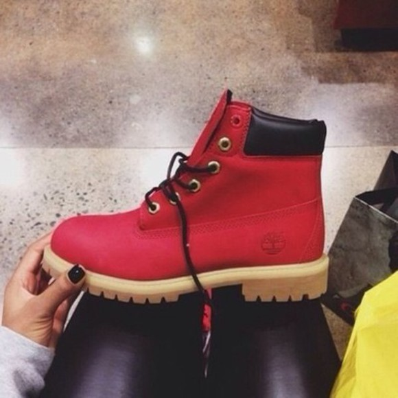 shoes red boots cute red shoes timberlands winter boots timberland boots shoes waterproof boots black timbs  style stylish ruby red warm black laces red boots snow boots cute shoes exclusive timberlands rare outfit