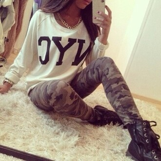 shirt dope camouflage new york city gold cute pants jewels