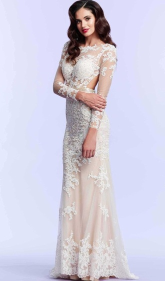 dress lace white nude romantic long prom evening outfits evening dress