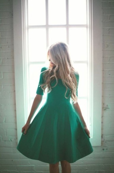 dress cap sleeves vintage green dress emerald green emerald green dress vintage dress a-line dresses a-line cap sleeves dresses sleeves knee length