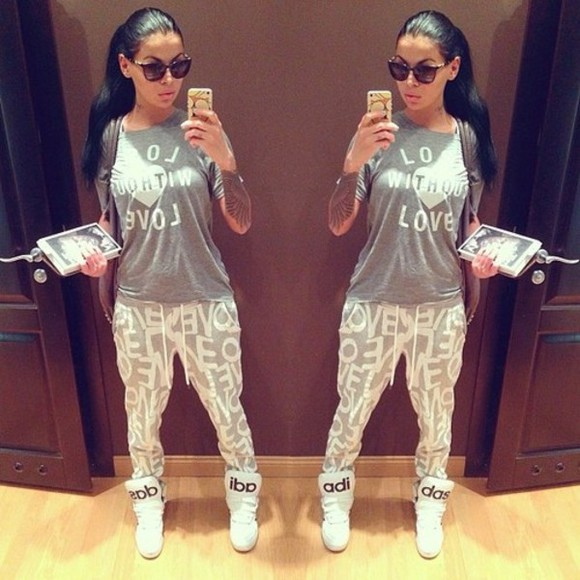 white shoes long sleeves pants adidas grey sunglasses