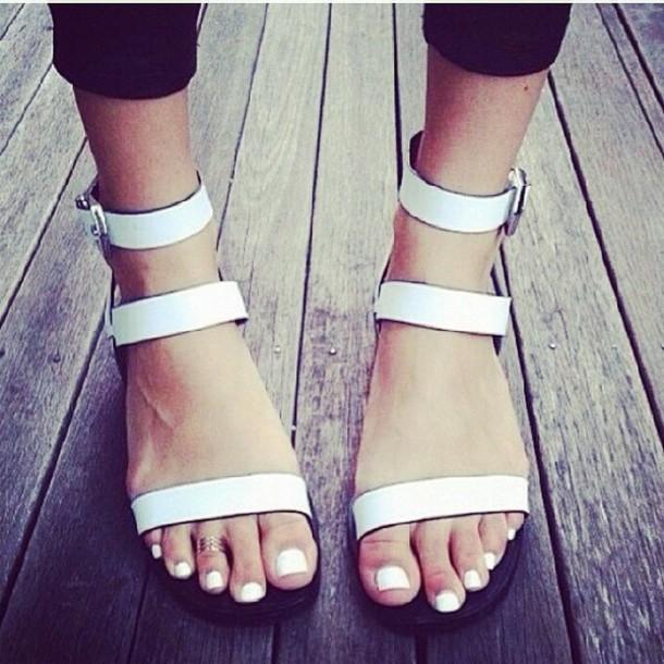 shoes flat sandals sandals white