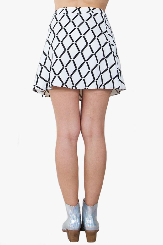 Grid lock black and white skirt