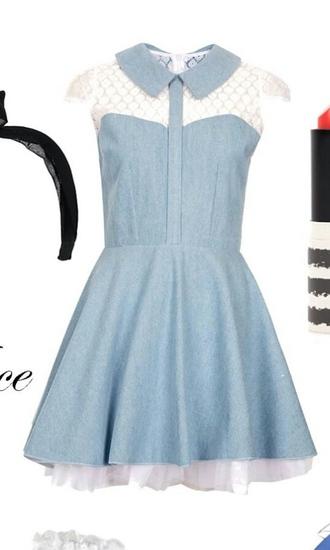 dress bleu blue dress cute dress robe dentelle