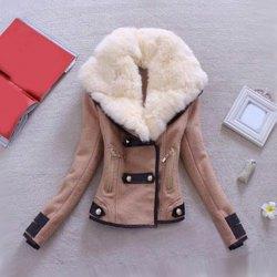 Down collar long sleeve women's coat (khaki,l), jackets & coats
