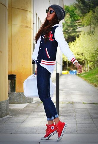 shoes red converse red sneakers converse sneakers high top sneakers high top converse denim jeans blue jeans cuffed jeans baseball jacket blue jacket jacket shirt white shirt beanie grey beanie sunglasses casual back to school bag white bag