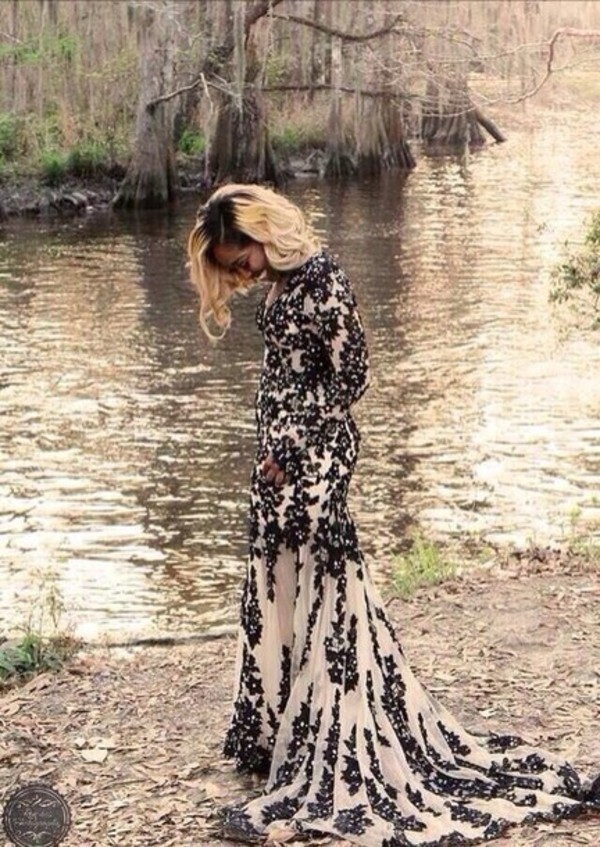 dress black lace prom dress
