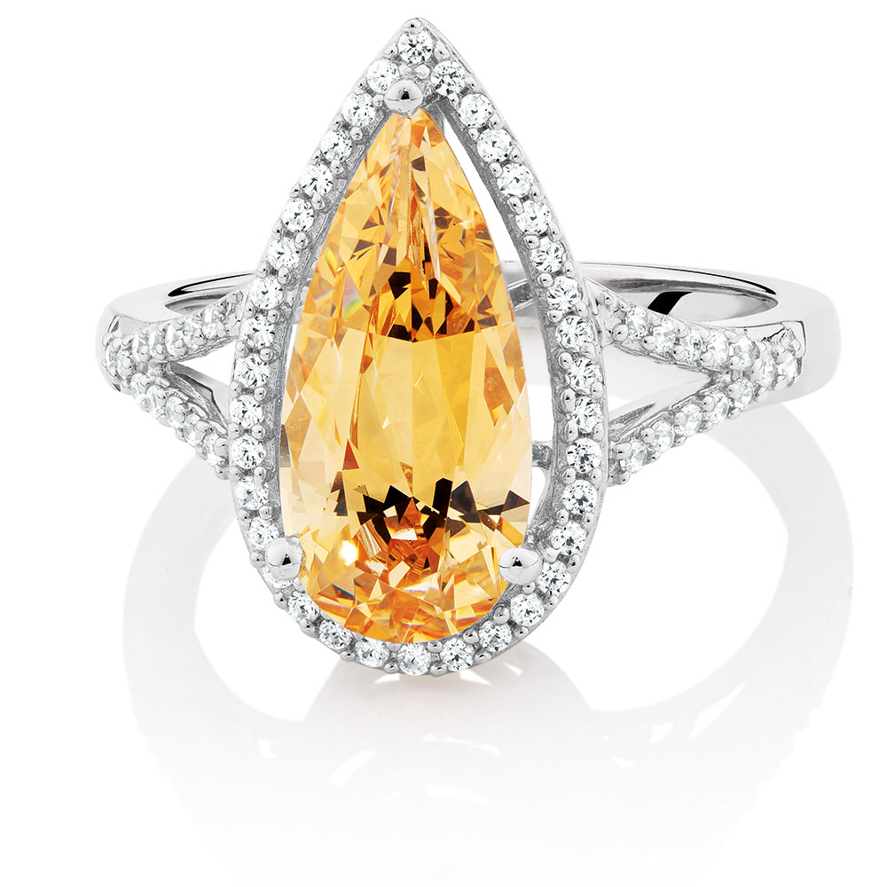 Amber & White Cubic Zirconia Ring