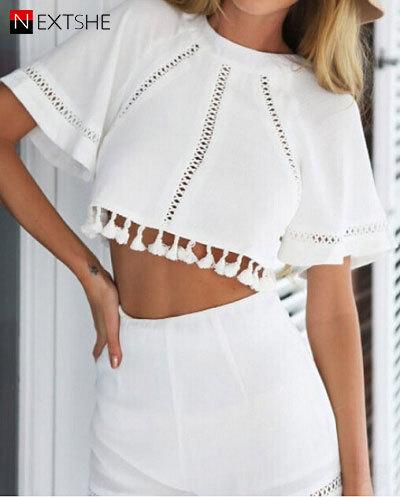 Aliexpress.com : Buy Women Summer Fashion White Tassels High Waist ...
