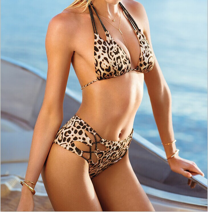 Aliexpress.com : Buy new 2014 women beach sexy bikini sets leopard and black plus size vintage women's bikinis free shipping halter no Steel care from Reliable bikini shorts suppliers on Dora Sweet Shop