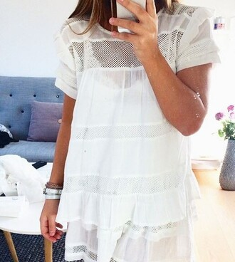 blouse lace summer t-shirt white crochet