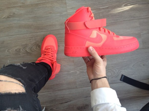 shoes, mens, mens shoes, sneakers, hightop, solar red, nike