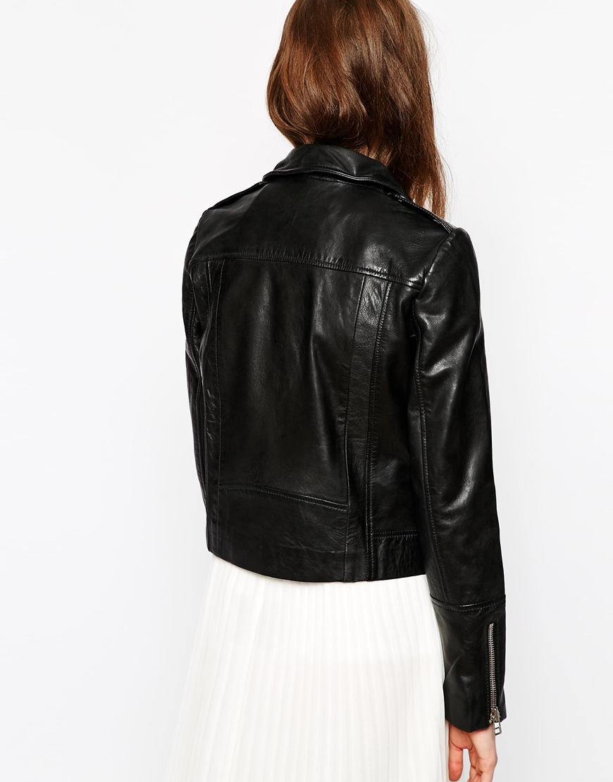 Mango Soft Leather Zip Biker Jacket at asos.com