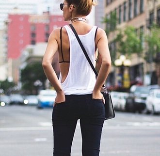 tank top top white open back
