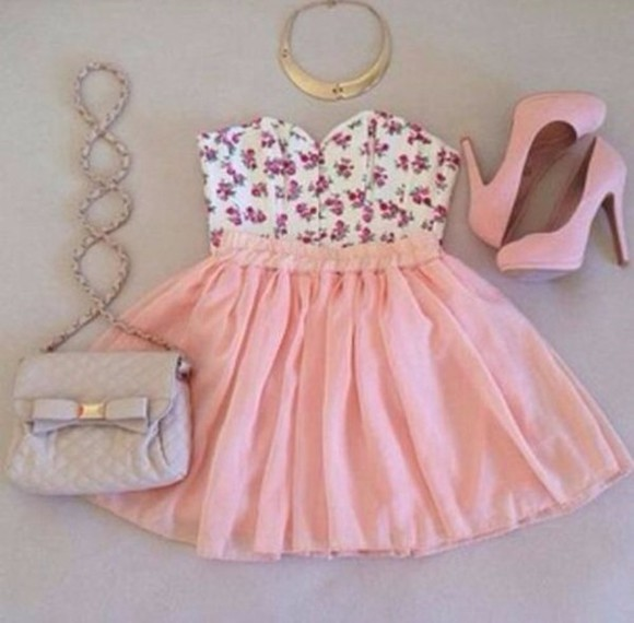 dress floral dress floral skirt summer dress peach shoes outfit all cute outfits bag blouse color pink pink dress flowers short tank top necklace