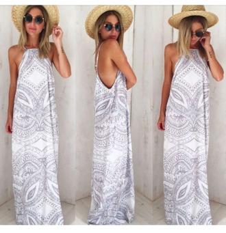 dress boho bohemian silver grey white floor length dress floor length sweet long summer summer dress maxi dress