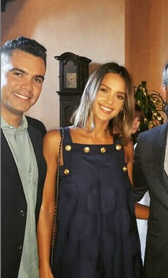 dress jessica alba instagram polka dots summer dress navy