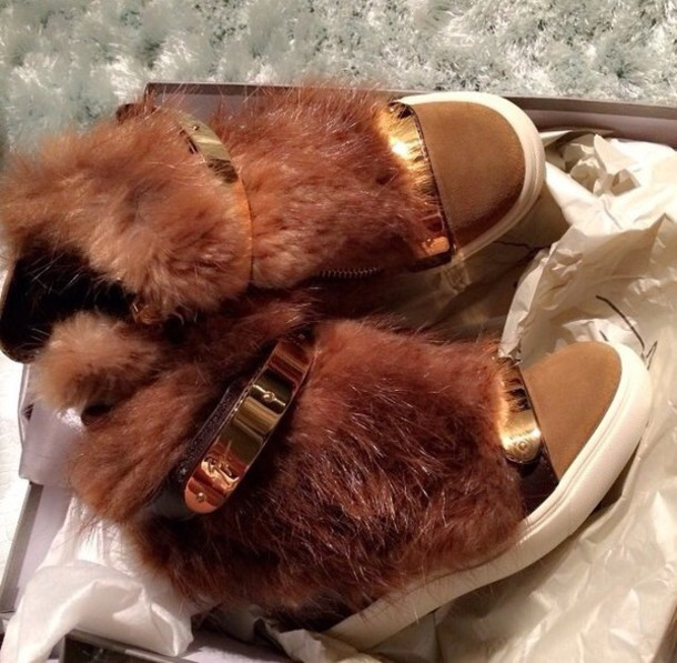 shoes wedge booties furry boots brown boots gold