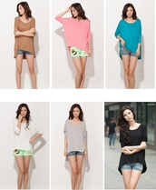 top,asymmetrical top,oversized t-shirt,colored,t-shirt,draped top,fashion