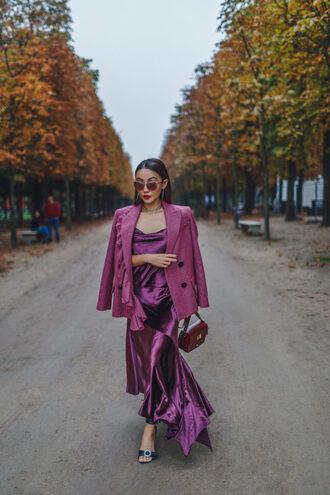 not jess fashion blogger jacket dress shoes bag sunglasses purple dress blazer fall outfits purple jacket sandals midi dress