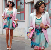 dress,multi color,teal,mint,pink,watercolor