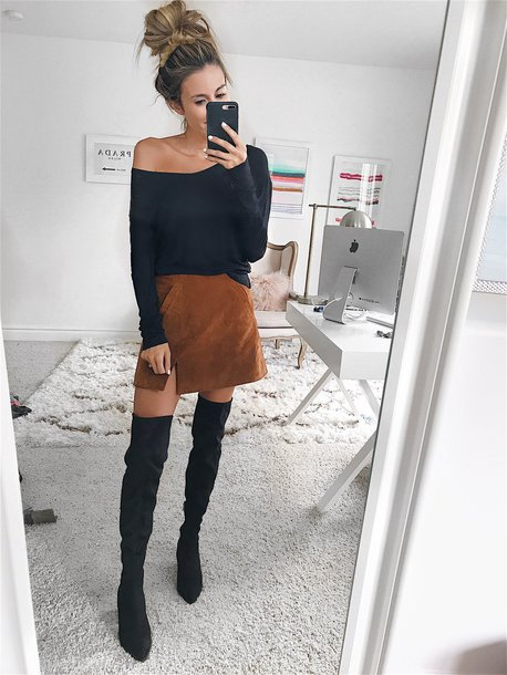 skirt suede mini skirt mini skirt off the shoulder top blogger blogger style knee high boots off the shoulder