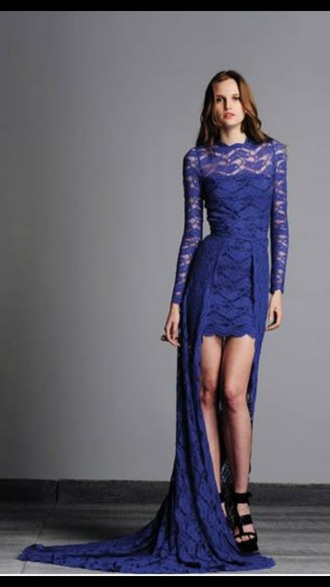 dress short long dress blue lace formal lace dress gown