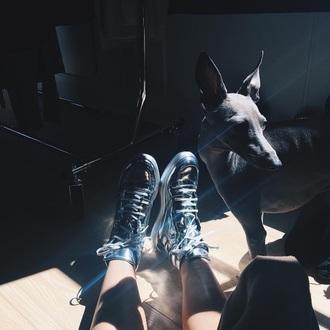 shoes sneakers metallic mirror