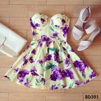 dress cute dress floral floral dress floral bustier vintage purple dress spring outfits spring dress summer dress summer print dress adorable strapless dress floraldress