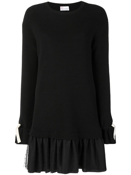 RED VALENTINO dress women layered cotton black