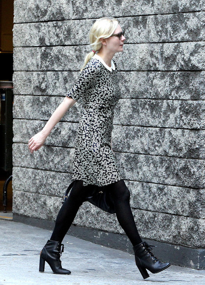 kirsten dunst black shoes high heels black ankle boots