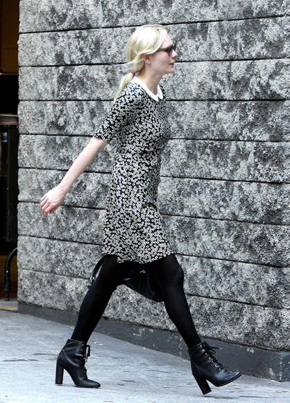 kirsten dunst black shoes high heels black ankle boots