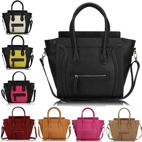 Designer Leather Style Celebrity Tote Bag Smile Shoulder Satchel ...