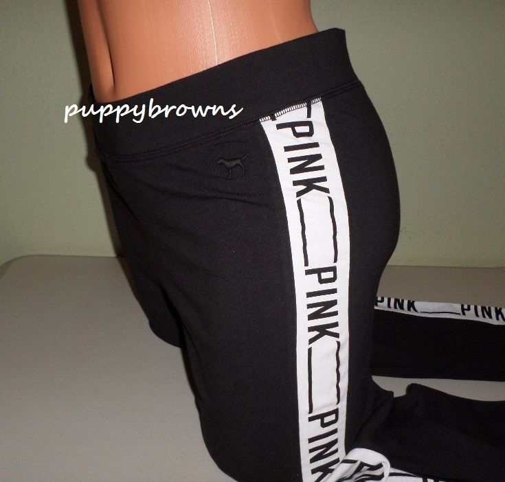 New Black Victoria's Secret Pink Sporty Logo Graphic Side Stripe Leggings L | eBay