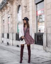 cardigan,hat,tumblr,white cardigan,dress,fall outfits,fall dress,floral,floral dress,boots,over the knee,fisherman cap