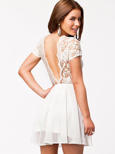 V Lace Back Chiffon Dress - John Zack - White - Party Dresses - Clothing - Women - Nelly.com