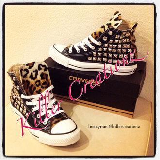 shoes converse leopard print studs