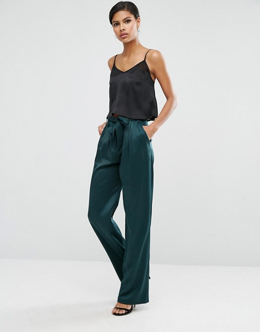 ASOS Soft Luxe Trouser with Tie Belt at asos.com