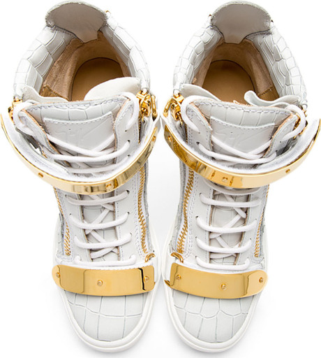 Giuseppe zanotti white lorenz high_top wedge sneakers in white