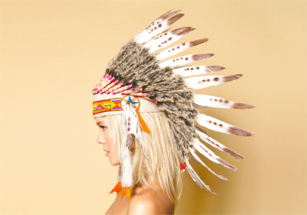 & hat indian native american feathers headdress costume - Wheretoget