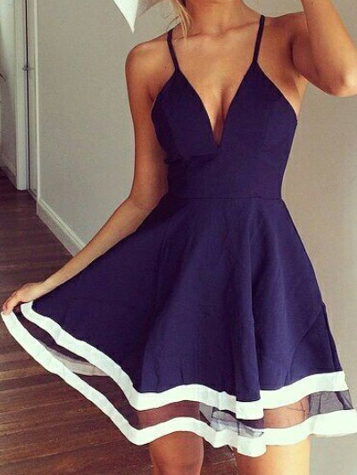 Nextshe navy low cut v necked white tulle striped hem spaghetti dresses free shipping