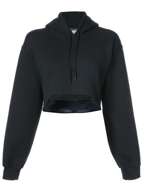 Harvey Faircloth - cropped drawstring hoodie - women - Cotton/Polyester - M, Black, Cotton/Polyester