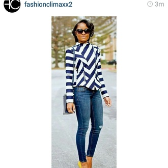 jacket blue and white striped